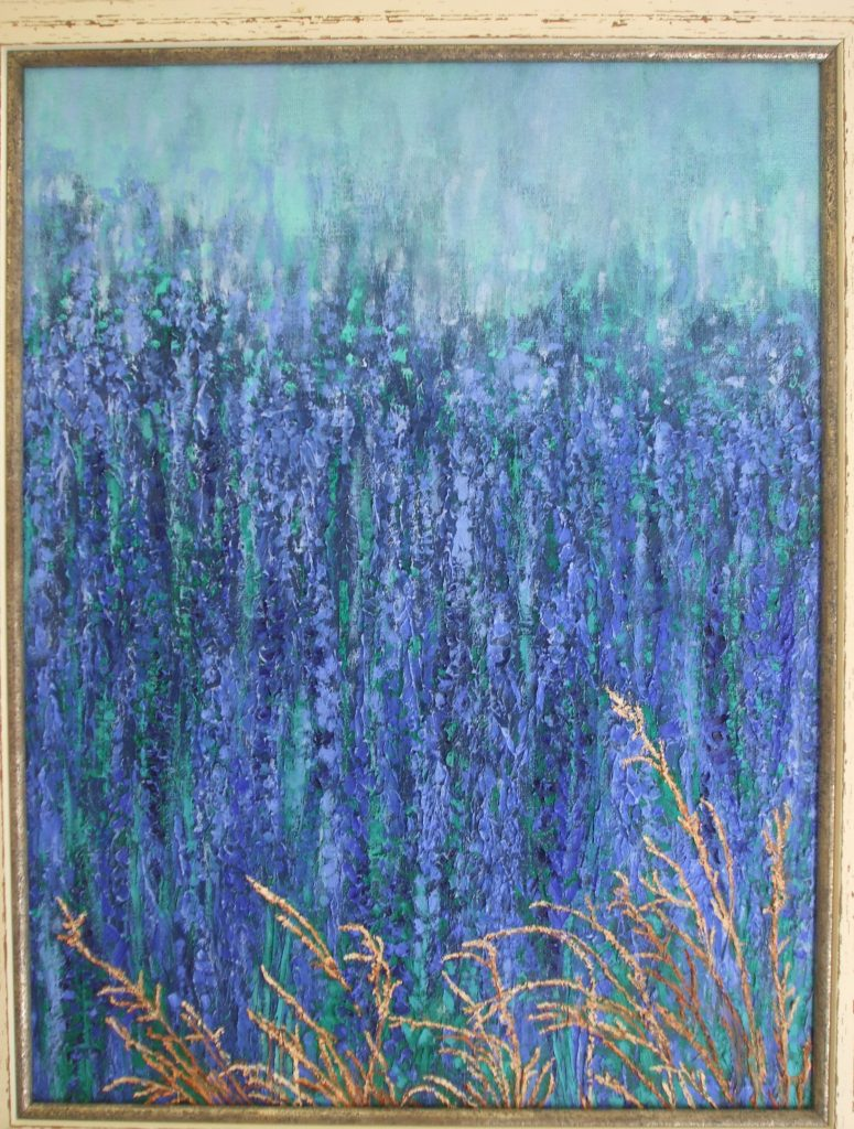 Borage Blue - mixed media - stressed white wooden frame - $360 - 39x50cm