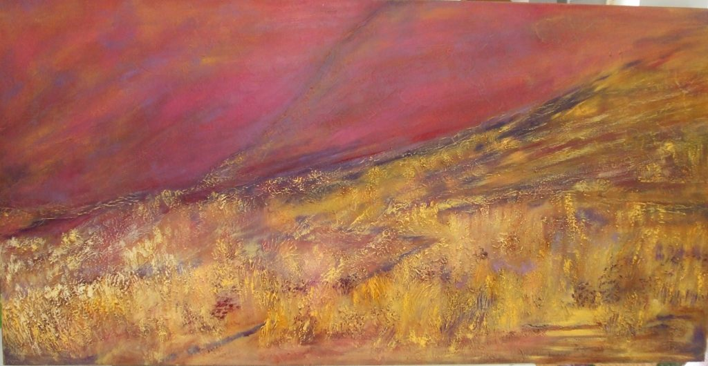 Lindis Pass Sunset [Inland Pass to Westland, N.Z.] - textured oil canvas - $470 - 103x52cm