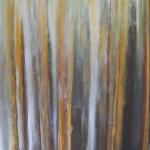 Westland [evening colour on trees] - acrylic - $250 - 41x51cm